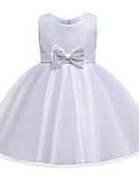Недорогие -Дети Девочки Активный Милая Однотонный Пайетки Бант Без рукавов До колена Платье Белый