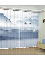 Недорогие -дымчато-синие горы цифровой печатной 3d занавес тень занавес высокой точности черный шелк ткань высокого качества первоклассный оттенок спальня гостиная занавес
