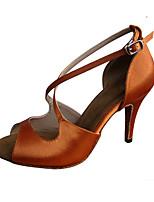 Недорогие -Жен. Танцевальная обувь Сатин Обувь для латины Планка На каблуках Тонкий высокий каблук Персонализируемая Коричневый