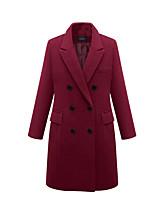 Недорогие -Жен. Повседневные Длинная Пальто, Однотонный Лацкан с тупым углом Длинный рукав Полиэстер Черный / Винный / Серый