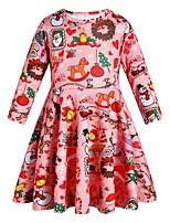 Недорогие -Дети Девочки Симпатичные Стиль Геометрический принт Рукав 3/4 Ассиметричное Платье Красный