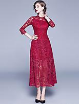 Недорогие -Жен. Изысканный А-силуэт Платье - Однотонный, Кружева Аппликация Макси Черный
