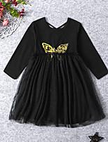 Недорогие -Дети Дети (1-4 лет) Девочки Активный Милая Геометрический принт Сетка Длинный рукав Средней длины Платье Черный