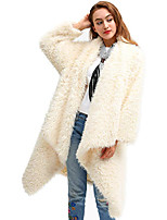 cheap -Women's Teddy Coat Long Solid Colored Going out White Camel One-Size