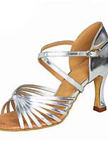 """Недорогие -Жен. Танцевальная обувь Сатин Обувь для латины Планка На каблуках Каблук """"Клеш"""" Персонализируемая Черный / Коричневый / Миндальный"""