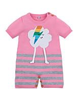Недорогие -малыш Девочки Уличный стиль С принтом Короткие рукава 1 предмет Светло-синий