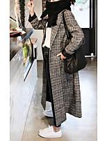 Недорогие -Жен. Повседневные Наступила зима Длинная Пальто, Гусиная лапка Европейский воротничок Длинный рукав Смесь шерсти Черный