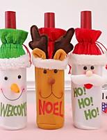 Недорогие -3 шт. Рождественские аксессуары бутылка вина санта-клаус снеговик бутылка комплект новогодний рождественский ужин украшения