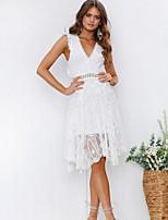 Недорогие -Жен. Классический А-силуэт Платье - Однотонный, Открытая спина Ассиметричное