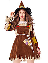 cheap -Scarecrow Outfits Adults' Women's Halloween Halloween Festival / Holiday Polyster Brown Women's Carnival Costumes / Dress / Belt / Hat / Neckwear