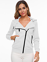 cheap -Women's Fall & Winter Coat Regular Solid Colored Daily Cotton White Black Blue Red XS S M L