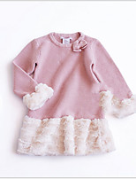 Недорогие -Дети (1-4 лет) Девочки Классический Однотонный Длинный рукав Свитер / кардиган Розовый