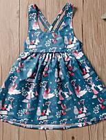 Недорогие -Дети Девочки Мультипликация Платье Синий