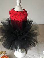 Недорогие -Собаки Коты Животные Платья Одежда для собак Тонкая прозрачная ткань Красный Полиэстер Костюм Назначение Лето Свадьба