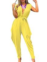 Недорогие -Жен. Активный Лиловый Оранжевый Желтый Комбинезоны, Однотонный S M L