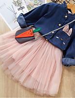 Недорогие -Дети Девочки Однотонный Платье Розовый