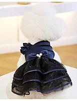 Недорогие -Собаки Коты Животные Платья Одежда для собак Лолита Красный Синий Полиэстер Костюм Назначение Весна Лето Свадьба
