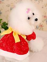 Недорогие -Собаки Коты Животные смокинг Одежда для собак С принтом Классика Белый Красный Полиэстер Костюм Назначение Зима Новый год