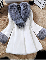 cheap -Women's Coat Long Solid Colored Daily Basic White Black S M L