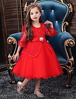 Недорогие -Дети Девочки Активный Милая Однотонный Кружева Рукав до локтя До колена Платье Лиловый