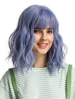 Недорогие -Парики из искусственных волос Чёлки Кудрявый Стиль Боковая часть Без шапочки-основы Парик Фиолетовый Синий Искусственные волосы 12 дюймовый Жен. Милый стиль Косплей Женский Синий Фиолетовый Парик