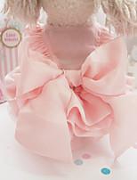 Недорогие -Собаки Коты Животные Платья Одежда для собак Однотонный Бант Розовый Полиэстер Костюм Назначение Лето Симпатичные Стиль