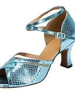 Недорогие -Жен. Танцевальная обувь Синтетика Обувь для латины Планка На каблуках Толстая каблук Персонализируемая Синий
