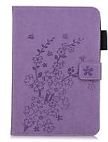 Недорогие -Кейс для Назначение Apple iPad Mini 3/2/1 / iPad Mini 4 / iPad Mini 5 Кошелек / Бумажник для карт / со стендом Чехол Однотонный / Цветы Кожа PU
