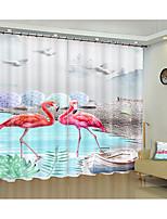 Недорогие -фламинго охрана окружающей среды цифровая печать 3d занавес фламинго творческий тень занавес высокой точности черный шелк ткань высокого качества класс тень спальня гостиная занавес