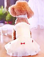 Недорогие -Собаки Коты Животные Платья Одежда для собак Принцесса Белый Полиэстер Костюм Назначение Лето Свадьба