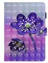 Недорогие -Кейс для Назначение Apple iPad Mini 3/2/1 / iPad Mini 4 / iPad Mini 5 Кошелек / Бумажник для карт / со стендом Чехол Цветы Кожа PU