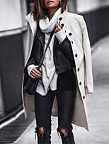 Недорогие -Жен. Повседневные Классический Наступила зима Обычная Пальто, Однотонный Рубашечный воротник Длинный рукав Полиэстер Черный / Белый