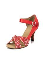 Недорогие -Жен. Танцевальная обувь Сатин Обувь для латины Стразы На каблуках Тонкий высокий каблук Персонализируемая Желтый / Зеленый / Красный