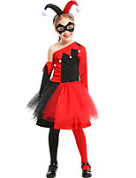 cheap -Princess Harley Quinn Dress Masquerade Flower Girl Dress Girls' Movie Cosplay A-Line Slip Red Dress Glove Socks Children's Day Masquerade Polyester Organza / Headwear / Eye Mask