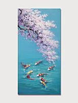 Недорогие -Hang-роспись маслом Ручная роспись - Животные Цветочные мотивы / ботанический Modern Включите внутренний каркас