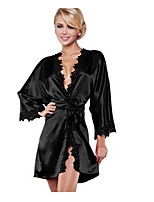 cheap -Women's Cut Out Layered Suits Nightwear Jacquard Solid Colored Black / Blue / Red S M L