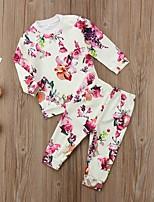 cheap -Baby Girls' Active Basic Floral Print Long Sleeve Regular Regular Clothing Set White