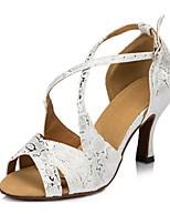 Недорогие -Жен. Танцевальная обувь Полиуретан Обувь для латины В мелкую точку На каблуках Тонкий высокий каблук Персонализируемая Серебряный