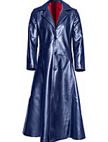 Недорогие -Жен. Повседневные Длинная Пальто, Однотонный Лацкан с тупым углом Длинный рукав Полиуретановая Черный / Красный / Темно синий