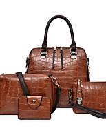 cheap -Women's PU Top Handle Bag Solid Color 4 Pieces Purse Set Black / Brown / Blue