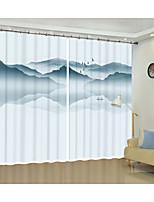 Недорогие -цифровая печать перевернутой пейзажной живописи 3d занавес тень занавес высокой точности черный шелк ткань высокого качества первоклассный оттенок спальня гостиная занавес
