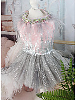 Недорогие -Собаки Коты Животные Платья Одежда для собак Пайетки Розовый Полиэстер Костюм Назначение Лето Свадьба