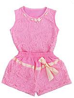 Недорогие -малыш Девочки Активный / Классический Однотонный Бант Без рукавов Обычный Обычная Набор одежды Розовый