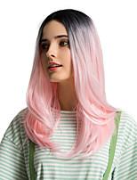 Недорогие -Парики из искусственных волос Чёлки Естественный прямой Стиль Боковая часть Без шапочки-основы Парик Розовый Черный / розовый Искусственные волосы 20 дюймовый Жен. Косплей Женский синтетический