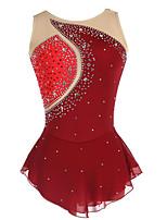 Недорогие -Платье для фигурного катания Жен. Девочки Катание на коньках Платья Красный Эластичная Соревнование Одежда для фигурного катания Классика Без рукавов Катание на коньках Фигурное катание