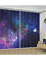 Недорогие -пространство ткани украшения пурпурная звезда цифровая печать 3d занавес тень занавес высокой точности черная шелковая ткань высокого качества класса один оттенок спальня гостиная занавес