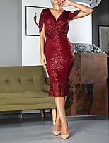 Недорогие -Футляр V-образный вырез До колена Пайетки Платье с С кисточками от LAN TING Express