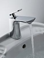 Недорогие -Ванная раковина кран - Широко распространенный Хром Свободно стоящий Одной ручкой одно отверстиеBath Taps