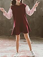Недорогие -Дети Девочки Контрастных цветов Платье Винный