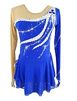 Недорогие -Платье для фигурного катания Жен. Девочки Катание на коньках Платья Тёмно-синий Эластичная Соревнование Одежда для фигурного катания Классика Длинный рукав Катание на коньках Фигурное катание